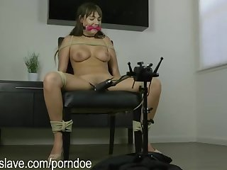 Brown-Haired loves to be roped up and compelled to jizz, because it exhilarates her a bunch