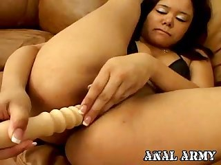 Enticing army cockslut in footwear Annie Cruz jerking culo on the sofa