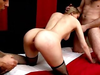 Lewd Russian beauty in fishnets Dana gets thin muff and throat torn up by 2 yam-sized rods