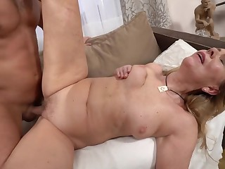 A hot bimbo granny is getting fucked overwrought a horny younh man