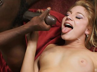 Aurora Snow gets her pretty face splattered with cum after riding cock