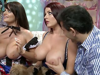 Three bosomy hookers fuck one hot blooded dude and eat his semen