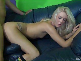 Insatiable blonde Roxxi Silver masturbates clit while dude fucks her slit