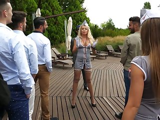 Polish hooker Joanna Bujoli and her girls are fucked by horny studs at the bachelor party