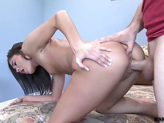 Amazing sexy cowgirl with appetizing rounded ass Zoe Bloom desires to ride dick