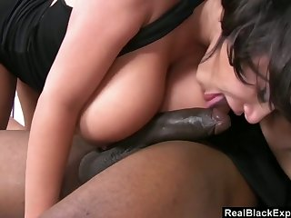 Black ample breasted hooker tries to cope with a huge dick of her new client