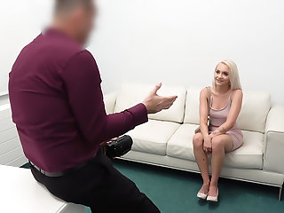 Desk fuck for petite blonde