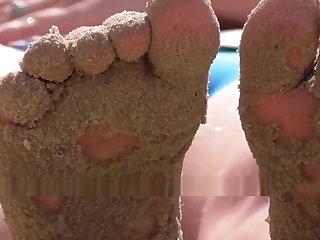 Teen girl pussy lips. Wet panties. Voyeur Ukraine beach