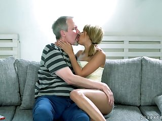 Ardent Hungarian Sarah Cute provides old neighbor with awesome blowjob