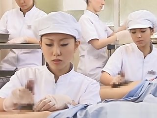 Japanese nurse slurping cum out of horny pecker