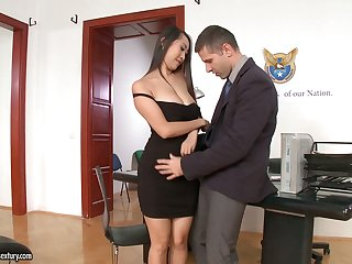 Several slutty secretaries including Asian Sharon Lee ride strong cock on top