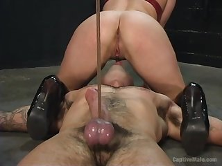 Male slave pleases the milf with intense ass licking