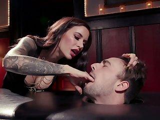 Killing hot mistress Gia DiMarco enjoys cock riding after depethroat blowjob