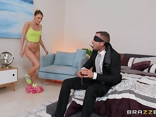 Blindfolded dude gets his cock pleasured by his GF's best friend