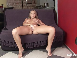 Peggy D is home alone and she gets naked to poke her pussy and ass