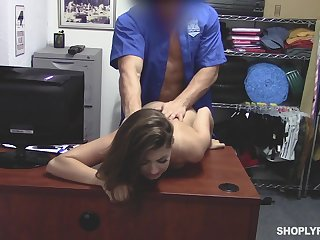Hidden camera video featuring shoplifting chick Ava Eden punished by security guy