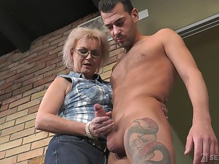 Handsome lodger John Price fucks old land lady and cums on her glasses