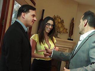 Lecherous busty wife Dava Foxx seduces husband's boss for promotion