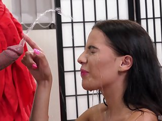 Skinny babe Eveline Dellai spreads her legs for a dirty fucking