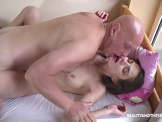Petite girl leaves grandpa to fuck her cherry a few rounds