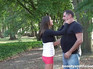 Outdoor fucking with cum in mouth ending for adorable Gabriella