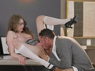Cock slides in schoolgirl's ass in excellent office scenes