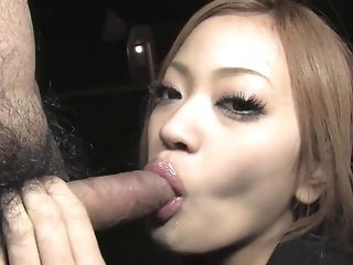 Sweet japanese girl deep-throats a massive stiff meatpipe about the dark porn tube