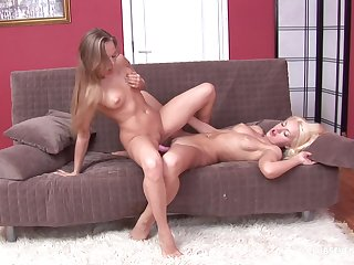 Blondes on fire are sharing the dildo for their deep anal desires