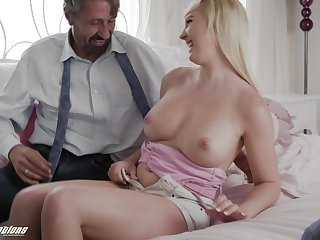 Old fuck gets to feel all of her and that sexy coed has got huge boobs