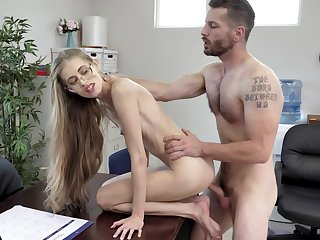 Most amazing hard fucking at the office for the skinny secretary