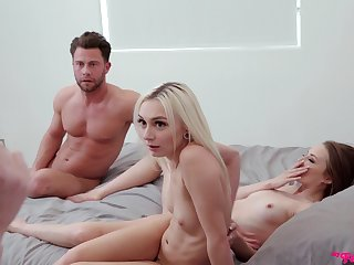 Step-siblings get caught having an FFM threesome in the bedroom