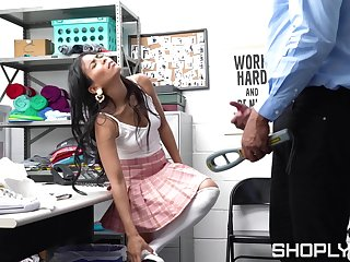 Shoplifter Jada Kai gets her mouth and pussy drilled by a perv