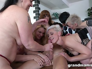 Lad has a bevy of old, horny broads eager to get fucked hard