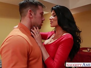 Super sexy dad's girlfriend Romi Rain gets into pants and gives a blowjob