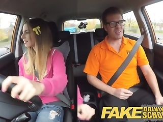 Dark-hued damsel gets prevail with milky jizm after a driving lesson pornvideo