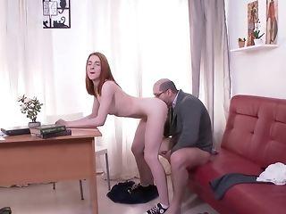 Elder educator In Glasses gobbles puny Bottom Of His schoolgirl sex tube