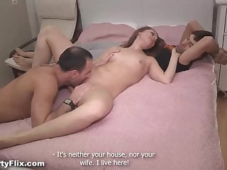Smallish jugged honey is getting screwed in a rear end fashion posture, in front of her bf