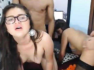 Foursome Fucking With Two Horny Brunette Girls