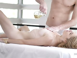 Tantalizing hottie Mazzy Grace is oiled up and fucked by horny masseur