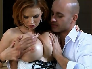 Bald headed dude drills pussy and deep throat of hot blooded blond hooker