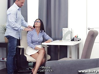 Buxom dark haired sweetheart Chanel Lux lets dude fuck her anus well