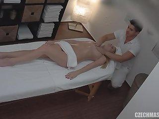 masseur touches her slit - massage porn video