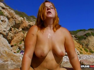 Fat babe rides a dick while at the beach with her horny lover.