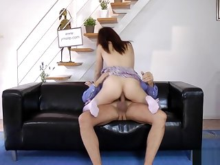 Shy euro teen riding old cock on the sofa