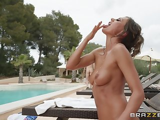 outside sex and a blowjob are fantasies of horny and oiled Tina Kay